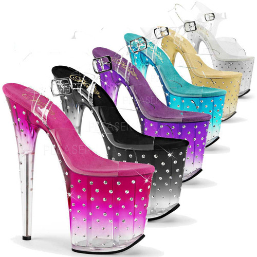 Pleaser | Stardust-808T, 8 inch Rhinestones Stripper Shoes