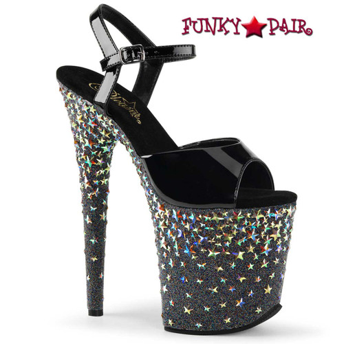 "Pleaser | Starsplash-809, 8"" Exotic Dancer Sandal with Stars"