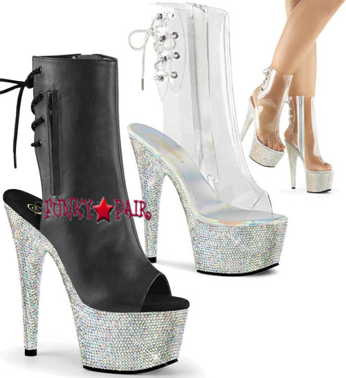 Stripper Boots Bejeweled-1018DM-7, 7 inch heel rhinestones peep toe ankle Boots