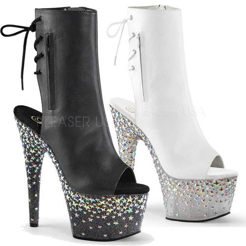 Pleaser Boots | Starsplash-1018-7, Open Toe and Back Ankle Boots with Star
