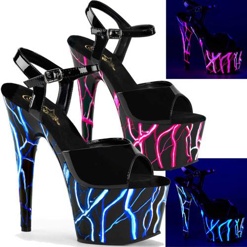 Pleaser | Adore-709NLB, Backlight UV Reactive Lightning Design Platform Sandal