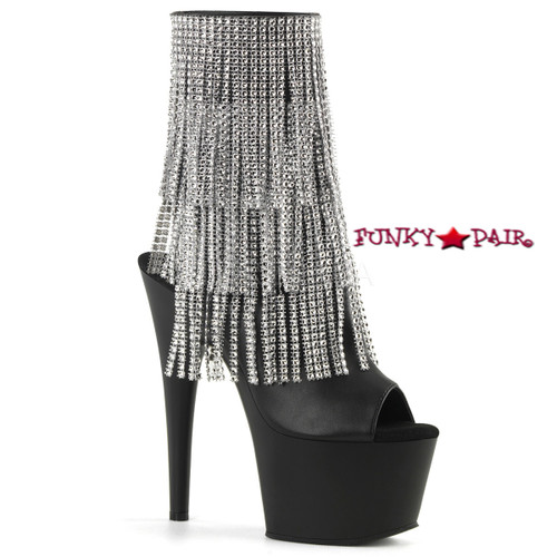 Adore-1024RSF, 7 Inch High Heel Open Toe and Back Fringe Boots color black faux leather