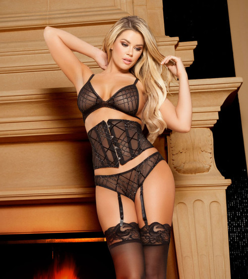 LI101, 3pc Mesh Top, Waist Cincher and Bottom with Garters
