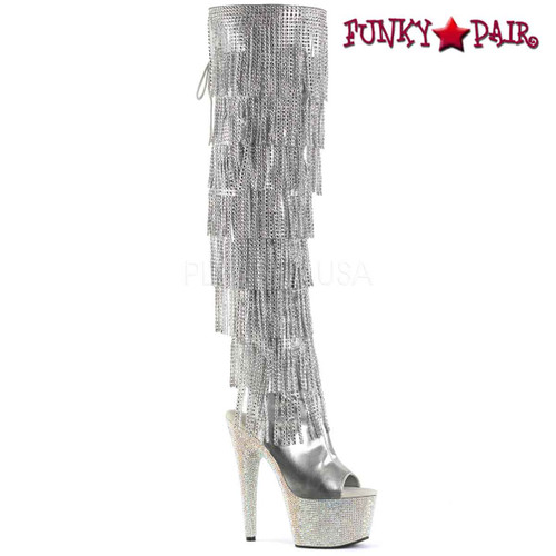 Pleaser   Bejeweled-3019RSF-7, Silver Fringe Thigh High Boots