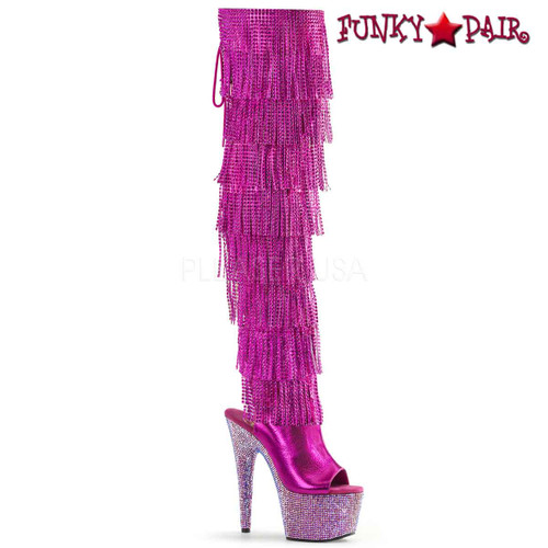 Pleaser   Bejeweled-3019RSF-7, Fuchsia Fringe Thigh High Boots