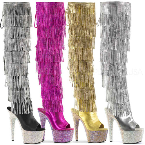Pleaser | Bejeweled-3019RSF-7, Fringe Thigh High Boots Color available: black faux leather, fuchsia, gold, silver metallic
