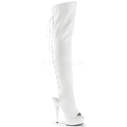 Pleaser | Illusion-3019, Textured Platform Thigh High Peep Toe Boots