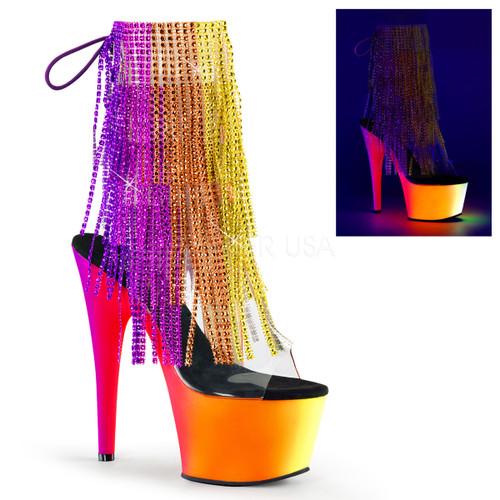Rainbow-1017RSF-7, 7 inch Fringe Rhinestones Ankle Boot with UV Platform
