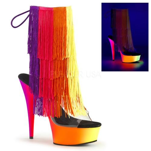 Rainbow-1017TF-6, 6 inch Thread Fringe Ankle Boot with UV Platform