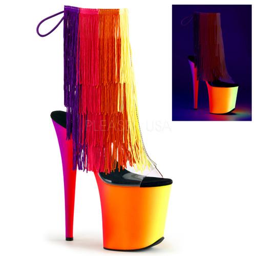 Rainbow-1017TF-8, 8 inch Thread Fringe Ankle Boot with UV Platform
