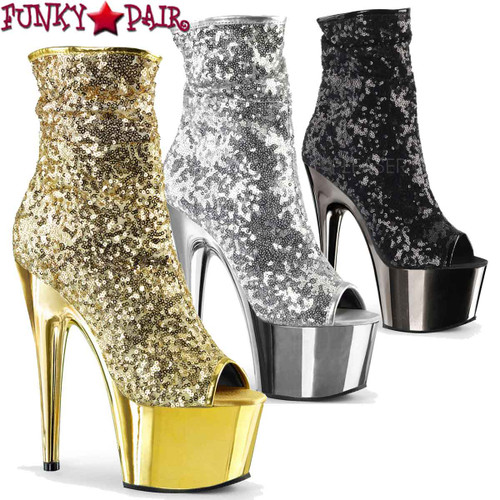 Pleaser   Adore-1008SQ, Sequin Ankle Boots