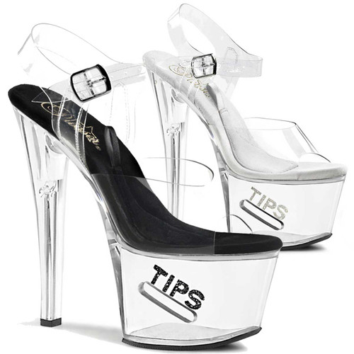 Stripper Shoes   TIP JAR-708-5, Platform Clear Stripper Shoes High Heels