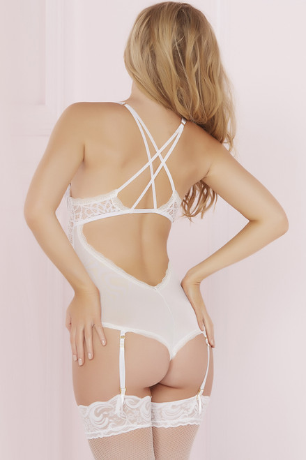 STM-10632, Crochet Lace and Mesh Teddy