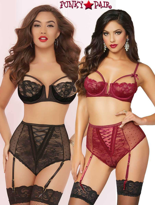STM-10619, Galloon Lace, Dot Mesh Bra Set color available: black and Burgundy