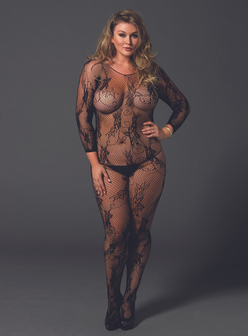 LA89170Q, Floral Lace Long Sleeved Bodystocking