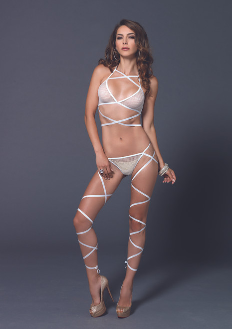 LA89149,  Fishnet Top and G-String with attached leg Wrap