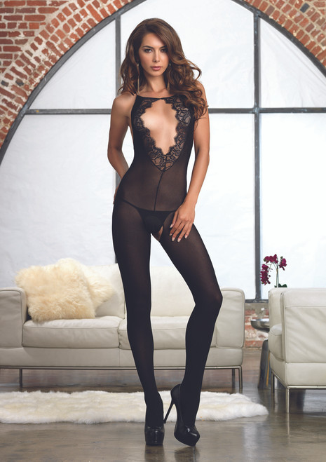 LA89147, Opaque bodystocking with Lace Keyhole