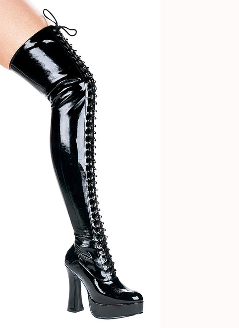"""5"""" Chunky Heel Lace Up Thigh High Ellie Shoes   557-Olivia"""