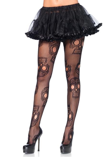 LA9982, Sugar Skull Net Pantyhose