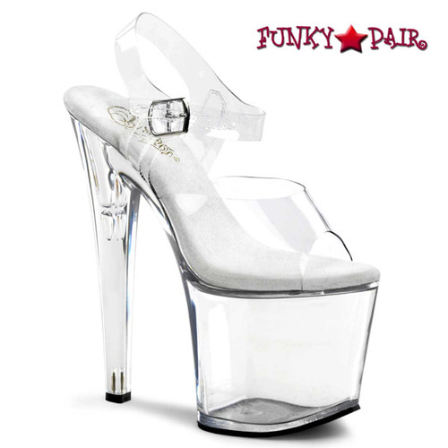 Clear Stripper shoes   TABOO-708, 7.5 Inch Ankle Straps Platform Shoes