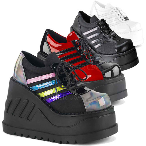 Demonia | Stomp-08, Black Platform Sneaker Shoes color available: red/black, white, black, multi