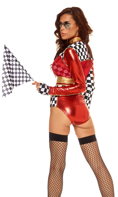 Car Racer costume includes mock neck long sleeves crop top with checkered print contrast, and matching high-waisted panty, gloves and glasses. (Checkered Bra and flag not included)