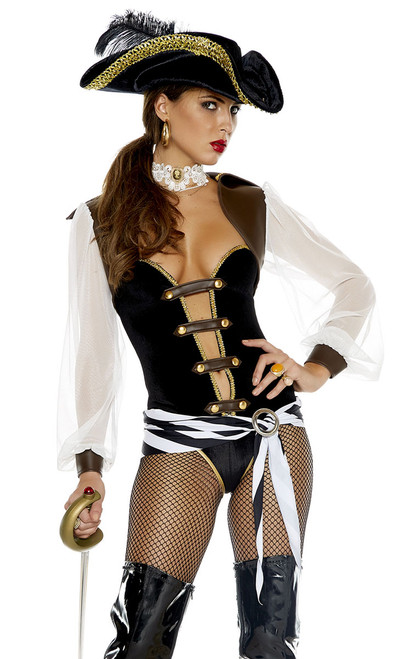 Sexy Pirate Costume includes velvet bodysuit with strappy faux leather bodice detail, matching bolero, stripped waist sash, and lace choker (hat and sword not included).