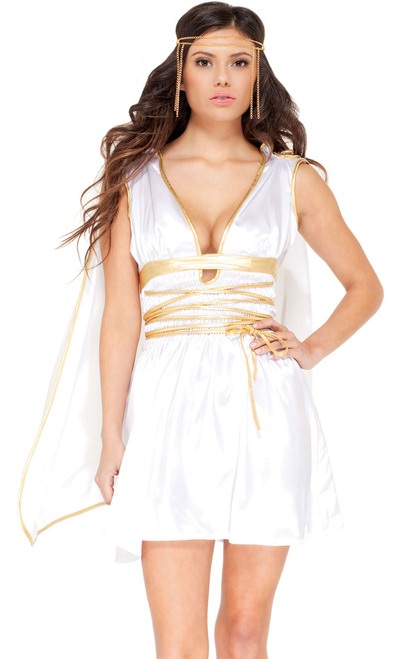 Sexy Goddess costume includes: Dress and Headband.