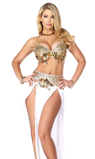 Sexy Belly Dancing costume includes: embellished bra with adjustable straps, matching pants with open front leg detail and belt.
