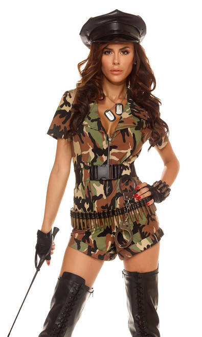 Female Soldier costume includes: Camo print romper, high-waisted belt and handcuffs. (BULLET BELT, HAT, AND GLOVES, HOISERY, AND DOG TAGS NOT INCLUDED)