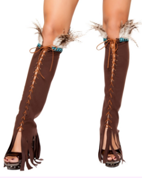 RLW10106 Lace Up Suede Leg Warmer With Feather and Fringe detail