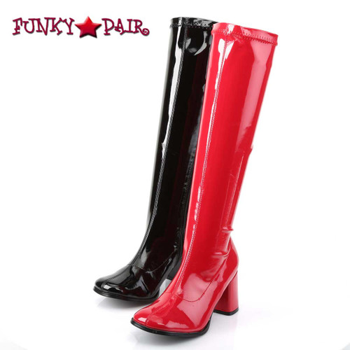 Front view GOGO-300HQ, Dual Color Black/Red Gogo Boots | Funtasma