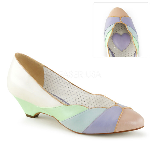 Lulu-05, Multi Color Kitten Heel Wedge Pump | Pin-Up Couture