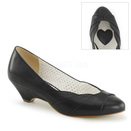 Lulu-05, Black Kitten Heel Wedge Pump | Pin-Up Couture
