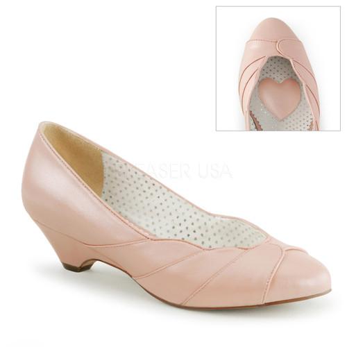Lulu-05, Baby Pink Kitten Heel Wedge Pump | Pin-Up Couture