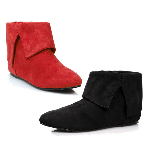 Flat microfiber boots (Blk-Left Red-Right)