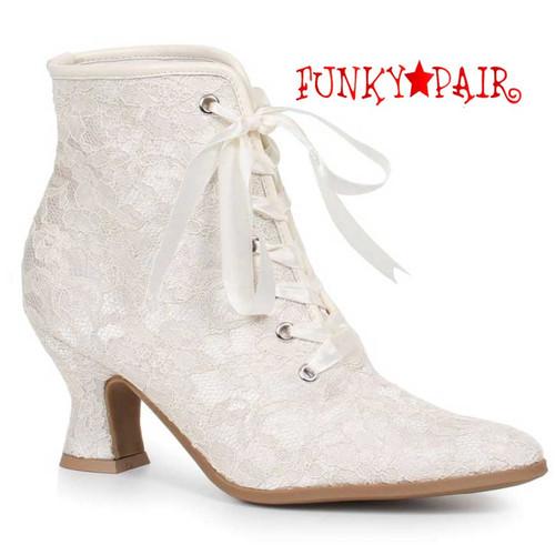 """White 2.5"""" Lace Ankle Boots 253-Elizabeth Ellie shoes"""