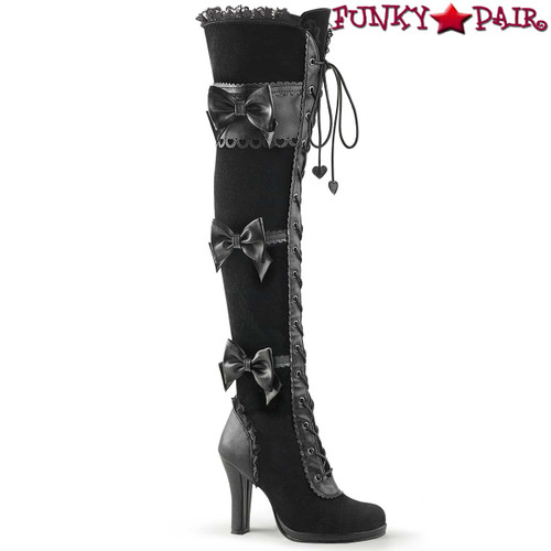 Funtasma Glam-300, 3.75 Inch Platform Goth Lolita Over The Knee Boots