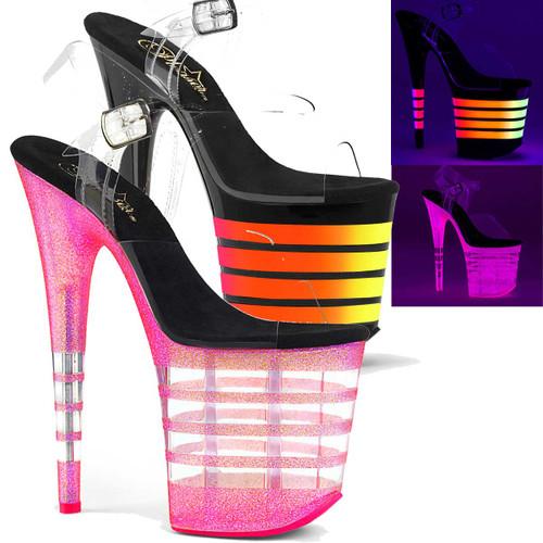Flamingo-808UVLN, UV Reactive Line Platform Ankle Strap Sandal Pleaser Shoes