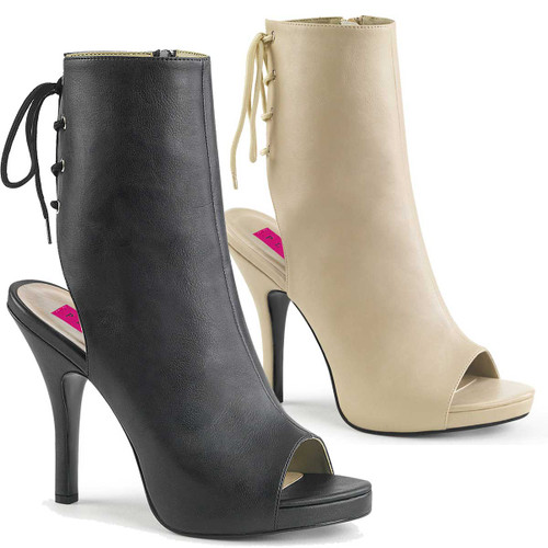 """Eve-102, 5"""" Heel Peep Toe Lace Back Ankle Boots 