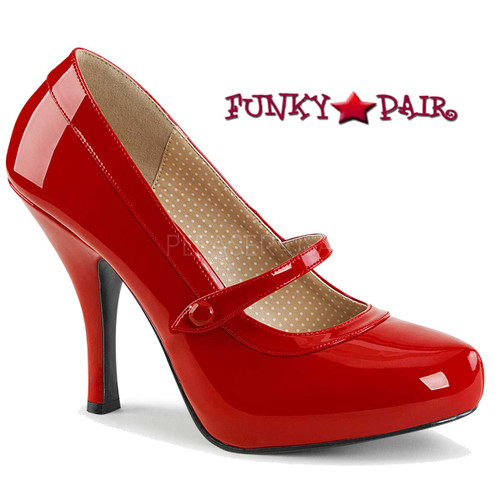 Pink Label | Pinup-01 Women Mary Jane Pump Size 9-16 color red patent