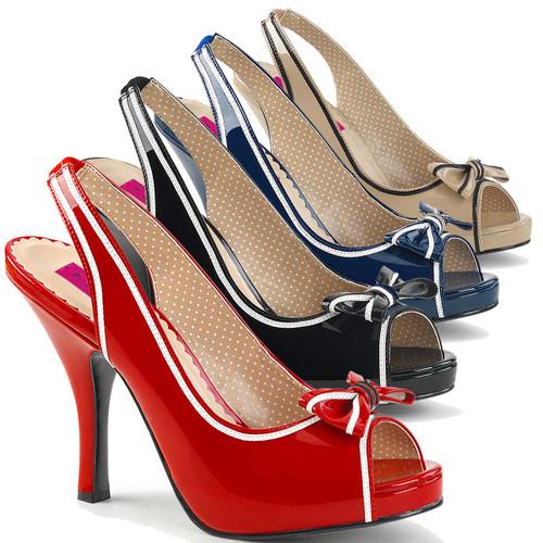 "Pinup-10, 4.5"" Heel Slingback Sandal with Contrast Trim | Pink Label"