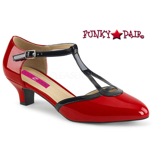 Pink Label | Fab-428 Sissy Heels T-strap Pump Size 9-16 red
