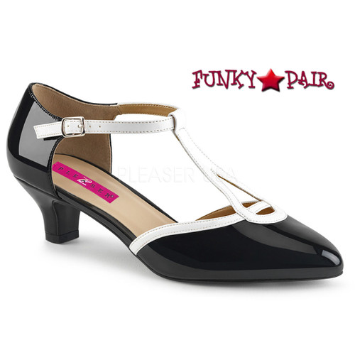 Pink Label | Fab-428 Sissy Heels T-strap Pump Size 9-16 black/white