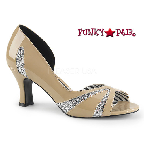 Pink Label | Jenna-03 Transgender Shoes Plus Size 9-16 cream