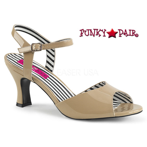 Cream 3 Inch Sandal Plus Size 9-16 Pink Label   Jenna-09