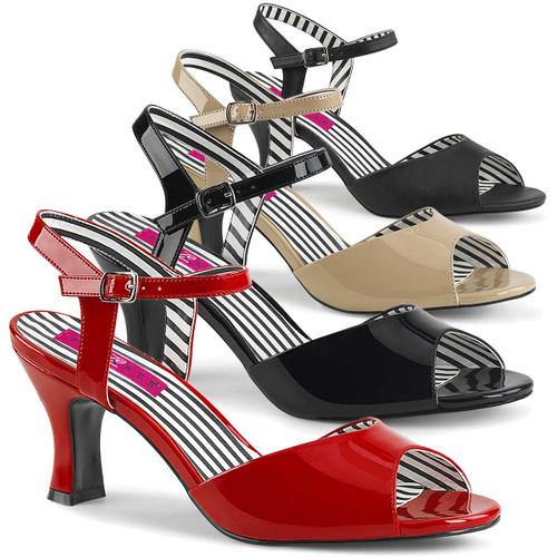 """Jenna-09, 3"""" Heel Ankle Strap Sandal Pink Label"""