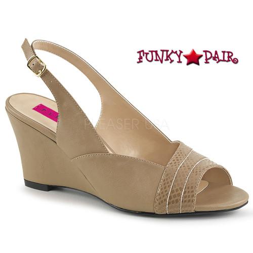 Cream Women Wedge Sandal Plus Size 9-16 Pink Label | Kimberly-01SP