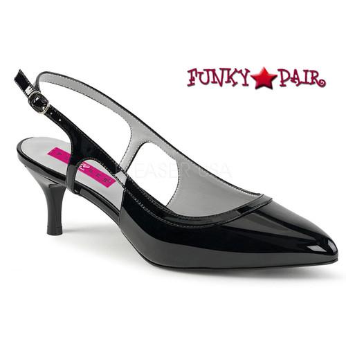 Pink Label | Kitten-02 Women Slingback Pump Plus Size 9-16 black patent
