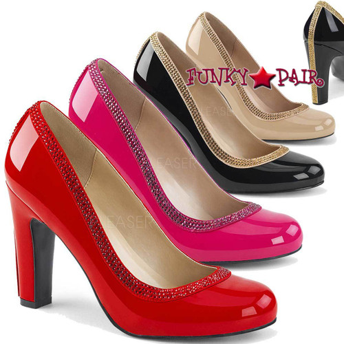 Pink Label | Queen-04 Queen Of Heels Plus Size 9-16 color available: black, cream, hot pink, red